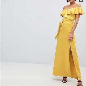 ASOS Off the Shoulder Yellow Dress